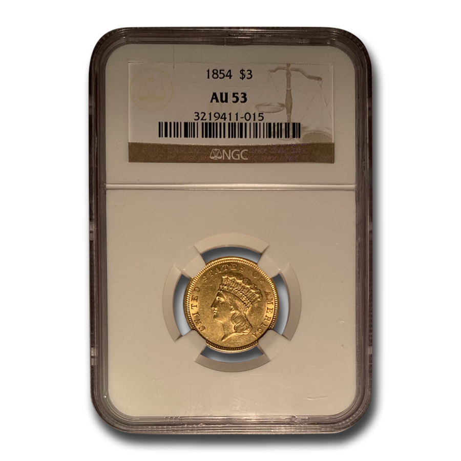 1854 $3 Gold Princess AU-53 NGC