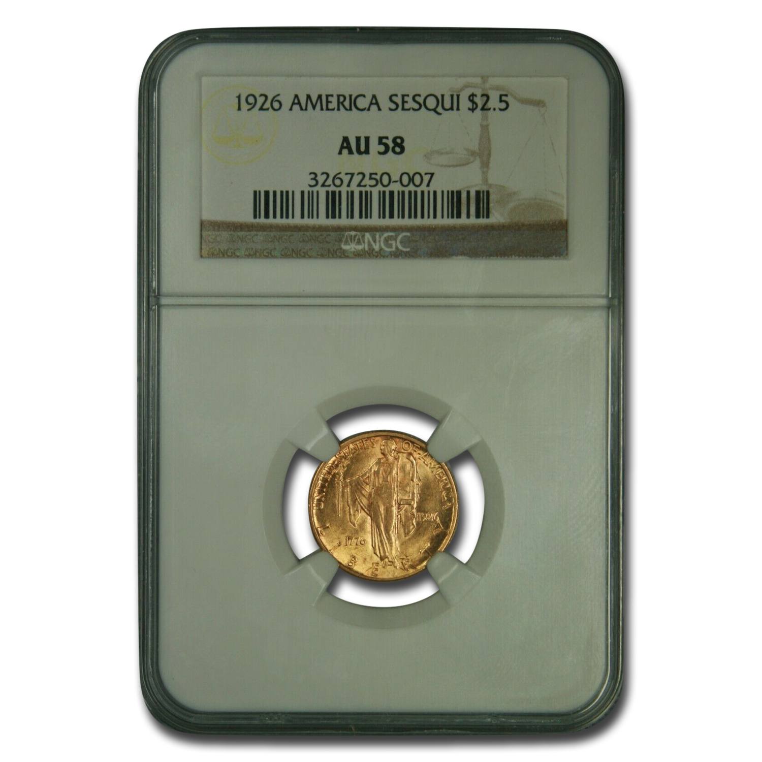 1926 Gold $2.50 America Sesquicentennial AU-58 NGC