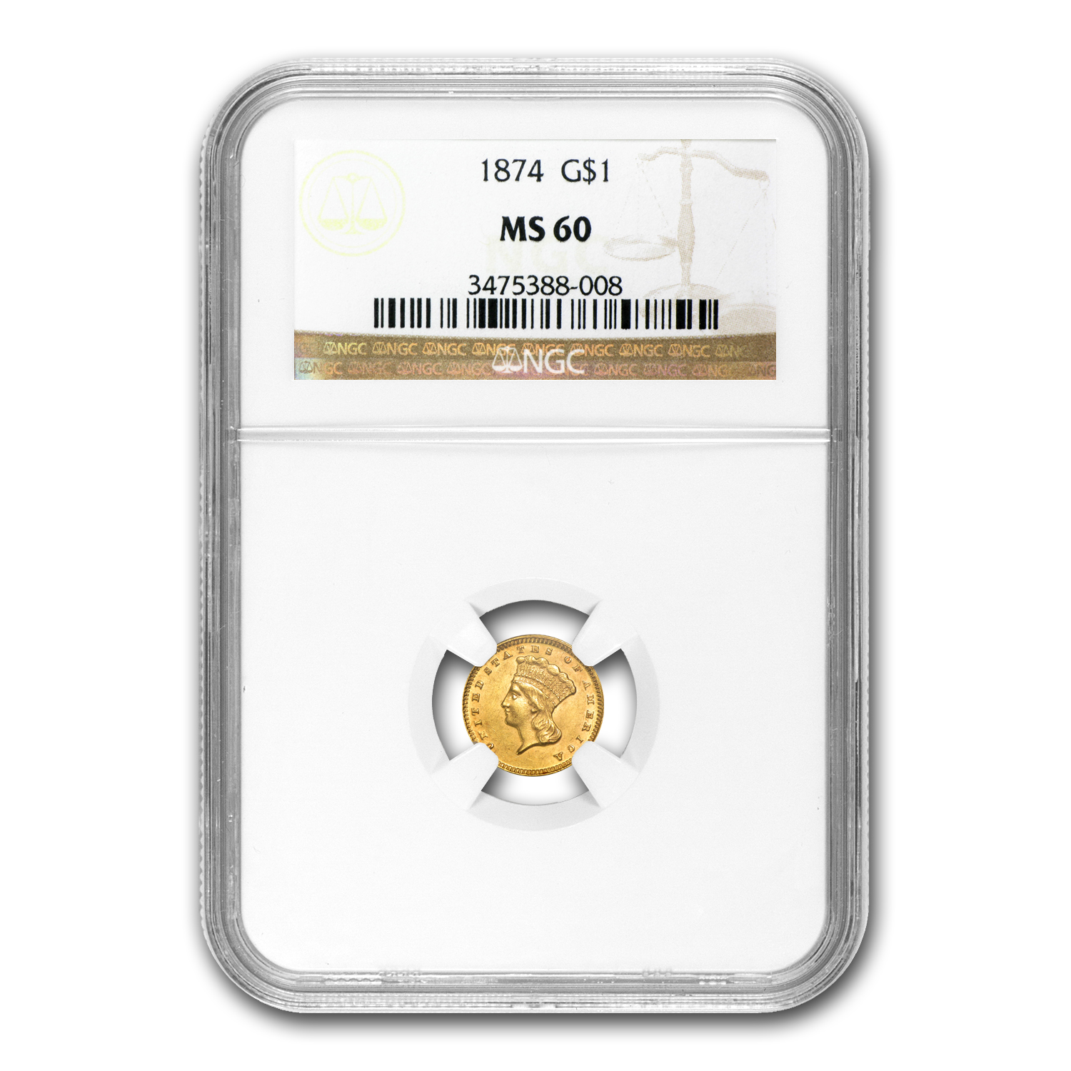 1874 $1 Indian Head Gold MS-60 NGC