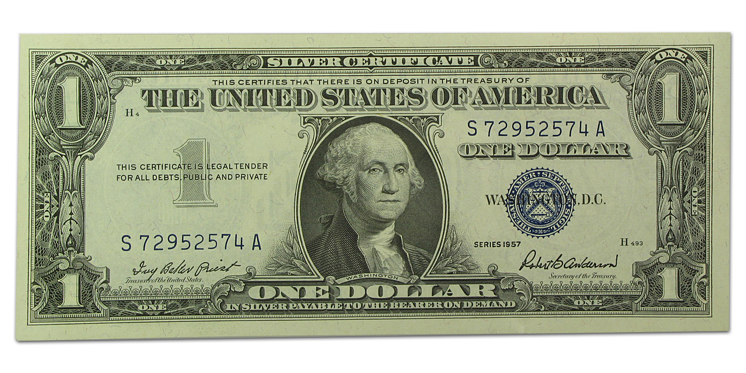 1957 $1.00 Silver Certificate CU (5 Consecutive Notes)