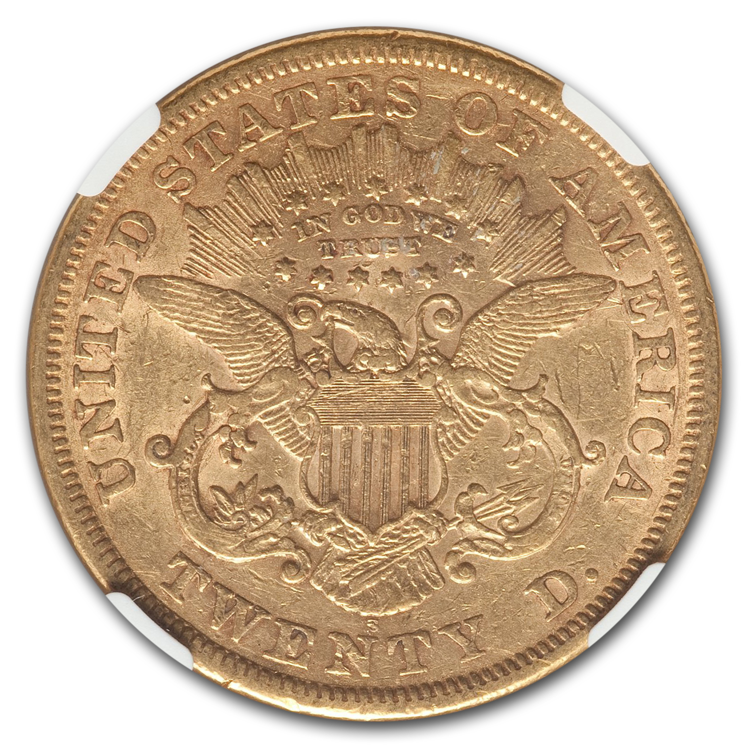 1867-S $20 Gold Liberty Double Eagle - XF-45 NGC
