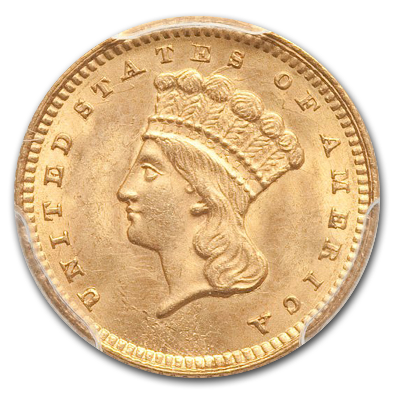 1861 $1 Indian Head Gold - MS-63 PCGS