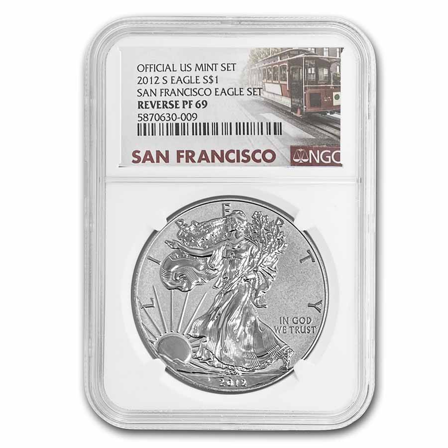 2012-S 2-Coin Silver Eagle Set PF-69 NGC (Retro, 25th Anniv)