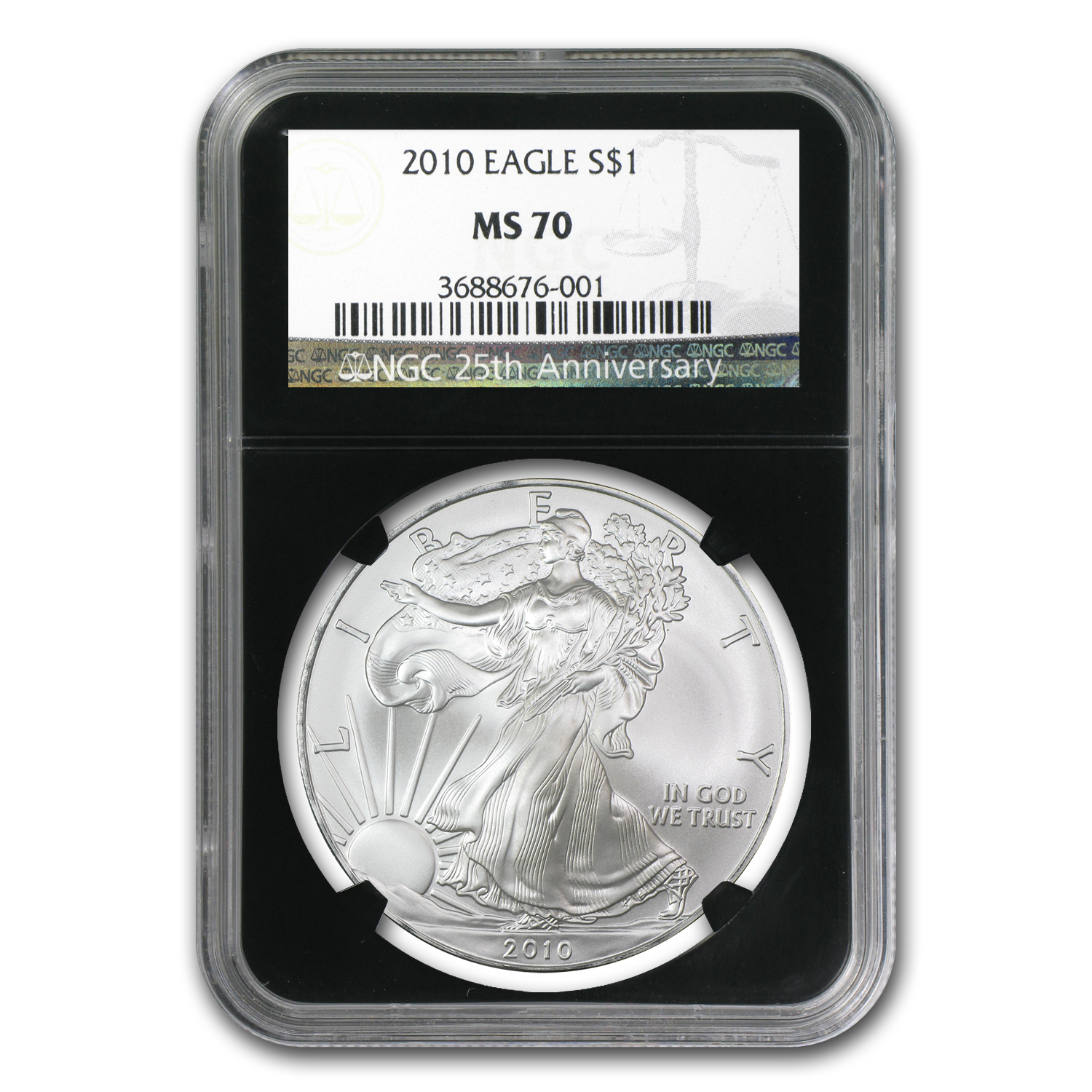 2010 Silver American Eagle - MS-70 NGC - Retro Black Insert
