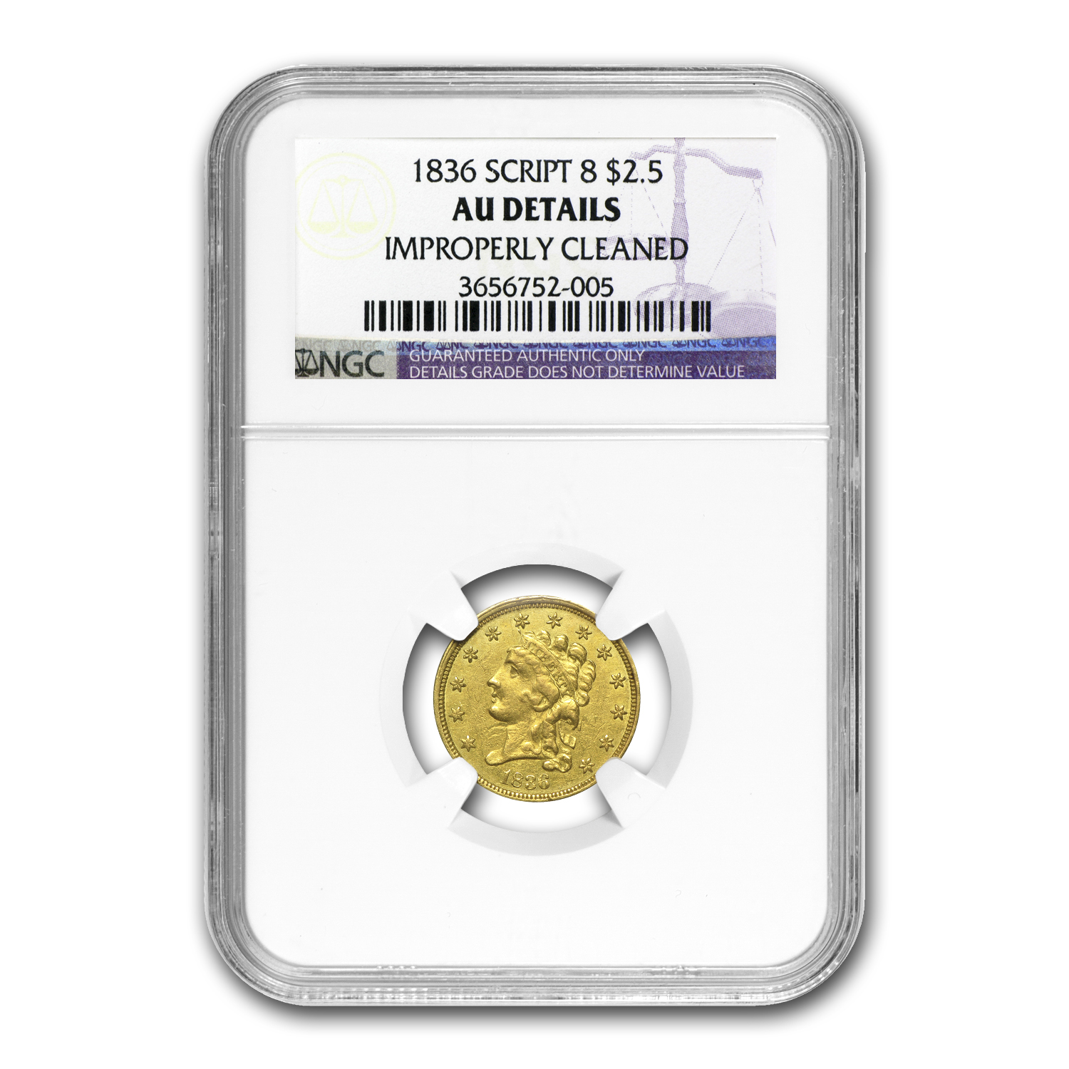 1836 $2.50 Gold Classic Head Script 8 AU Details NGC (Cleaned)