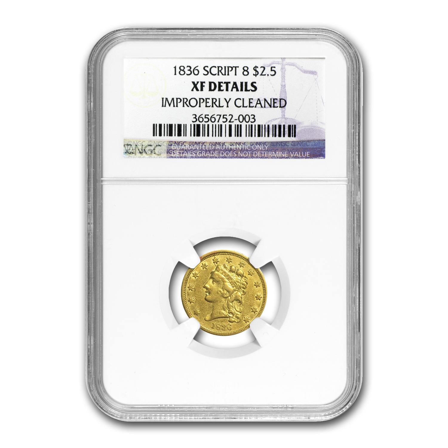1836 $2.50 Gold Classic Head Script 8 XF Details NGC (Cleaned)