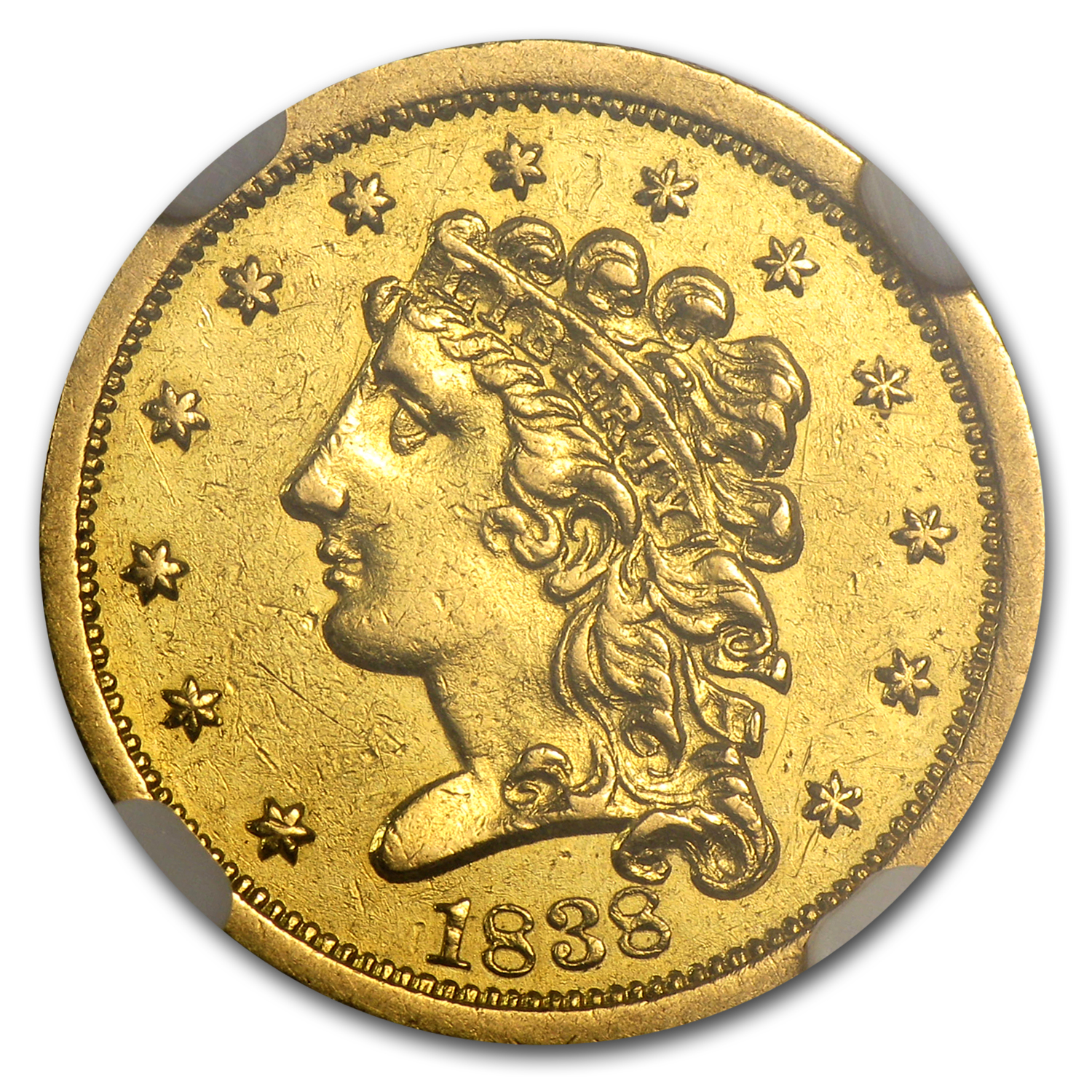 1838 $2.50 Gold Classic Head - AU Details - NGC - (Cleaned)