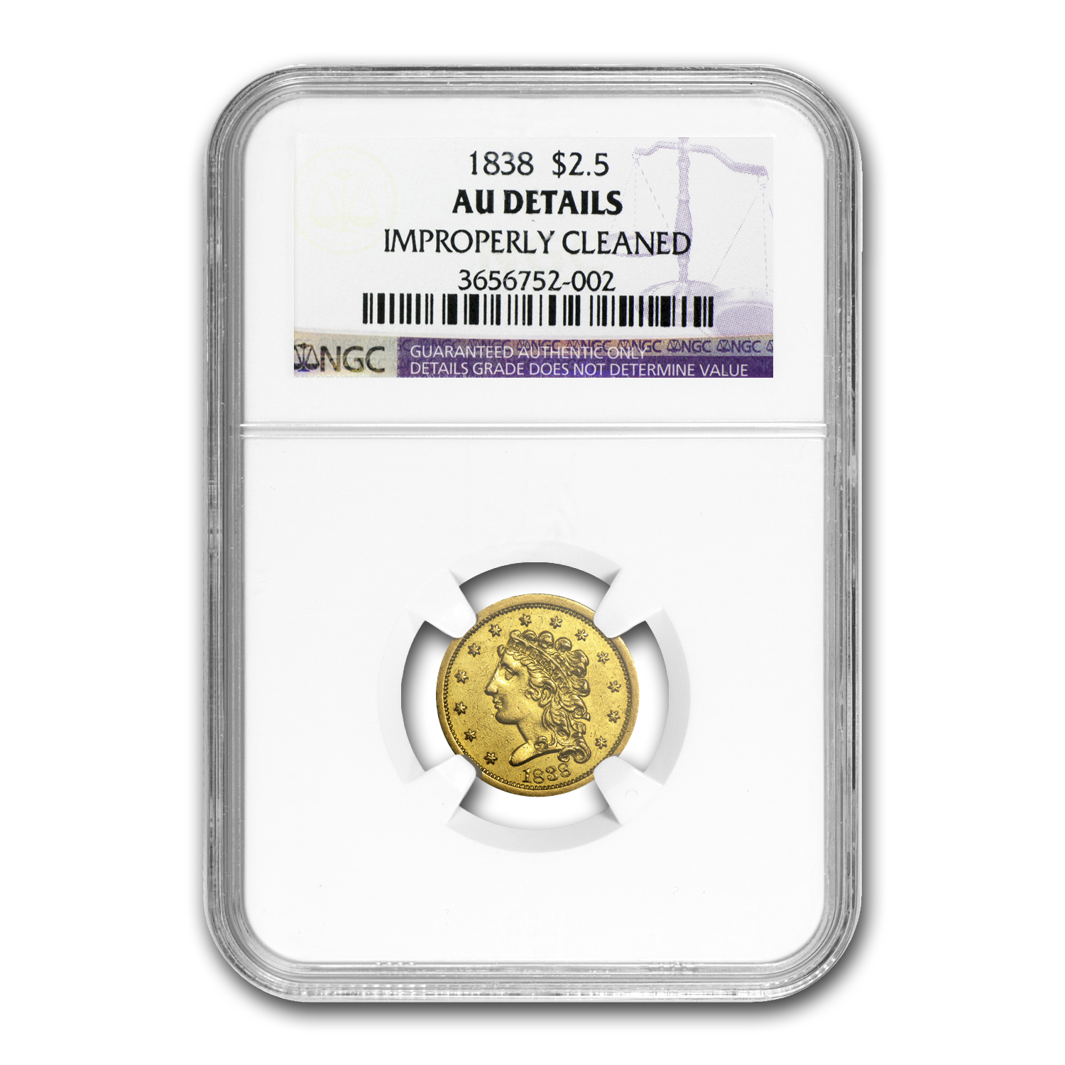 1838 $2.50 Gold Classic Head AU Details NGC (Cleaned)