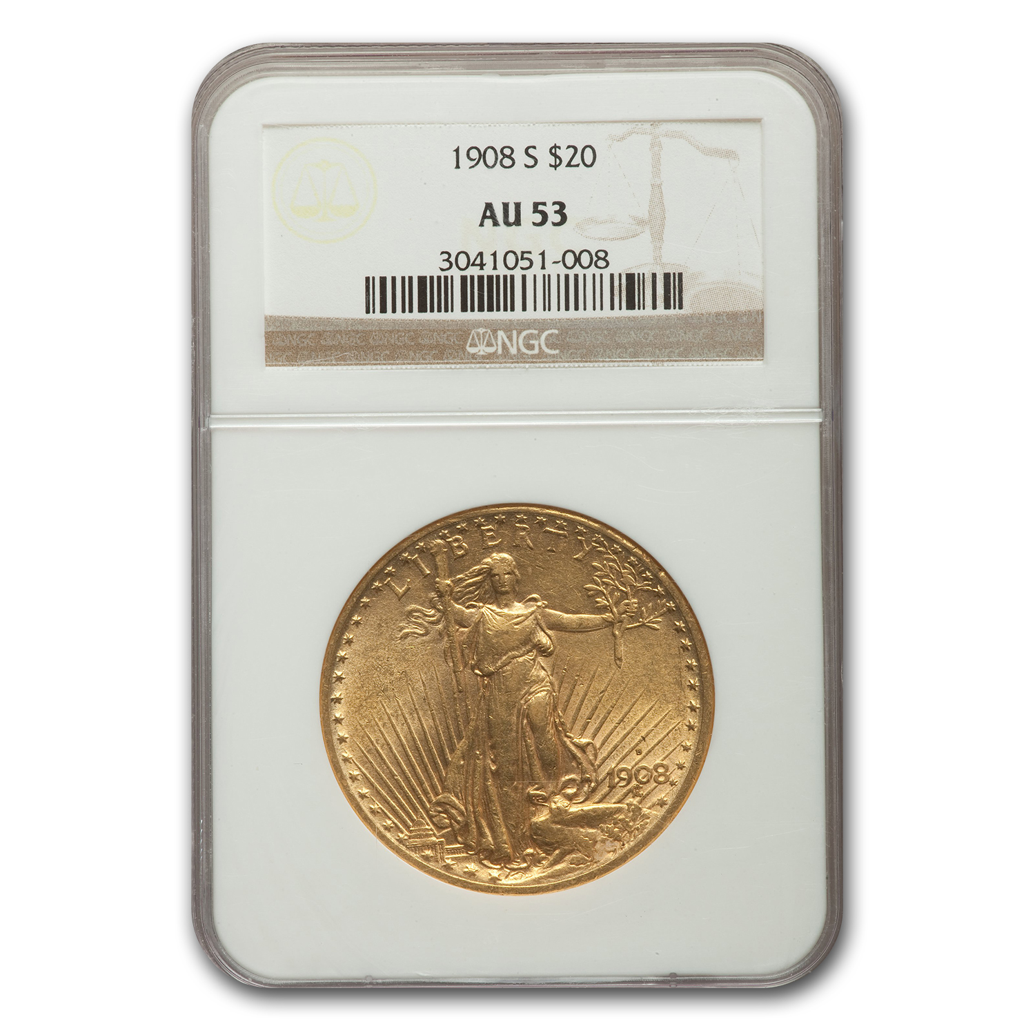 1908-S $20 St. Gaudens Gold Double Eagle - AU-53 NGC