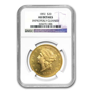 1892 $20 Liberty Gold Double Eagle AU Details NGC
