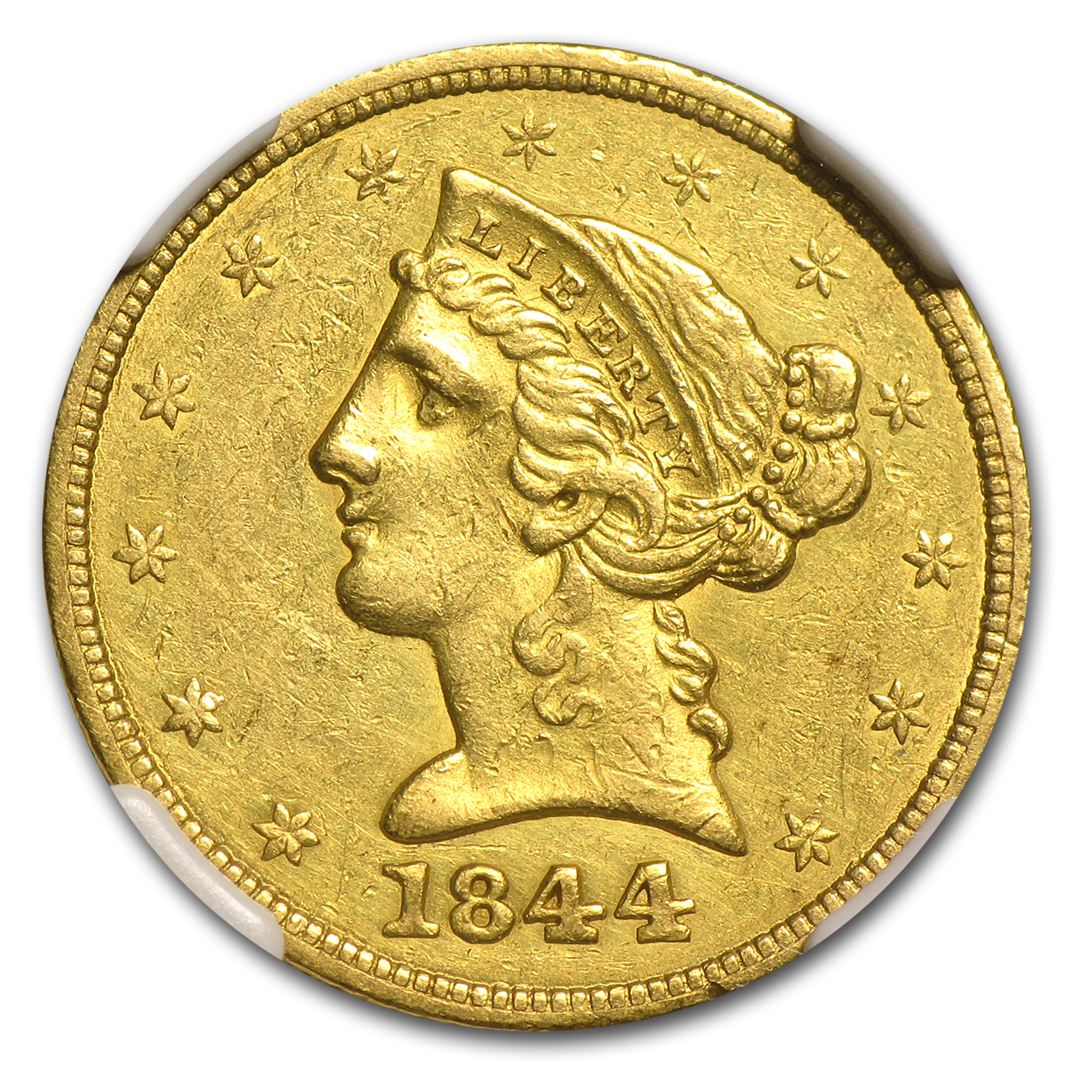 1844 $5 Liberty Gold Half Eagle AU Details NGC