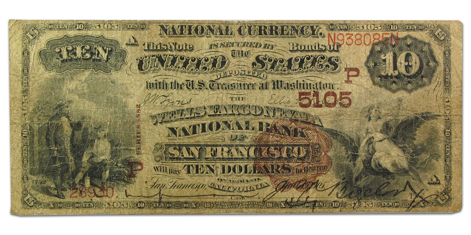 1882 Brown Back $10 San Francisco, CA VG (CH#5105)