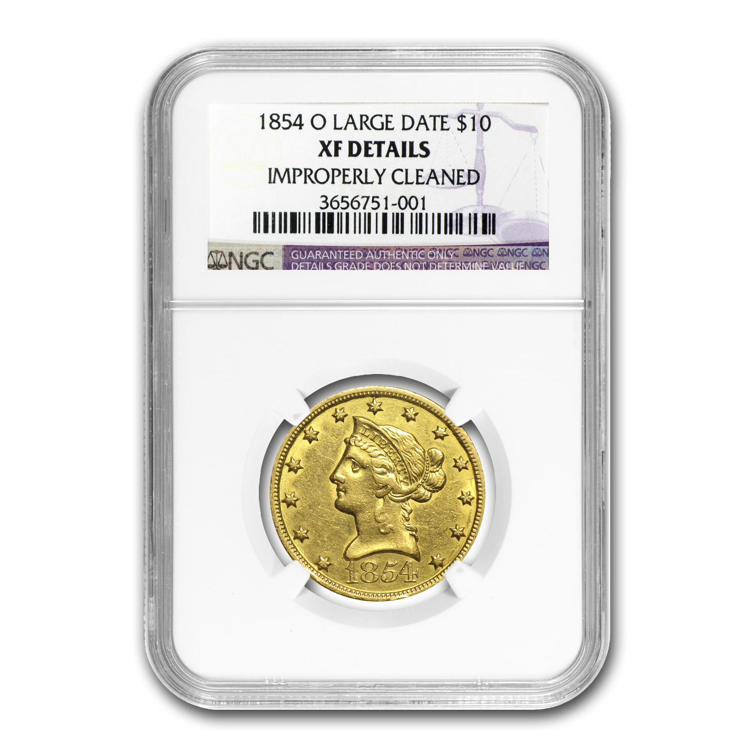 1854-O $10 Liberty Gold Eagle No Motto XF Details NGC (Clnd)
