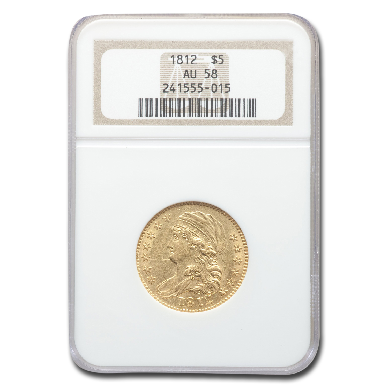 1812 Capped Bust $5 Gold Half Eagle AU-58 NGC
