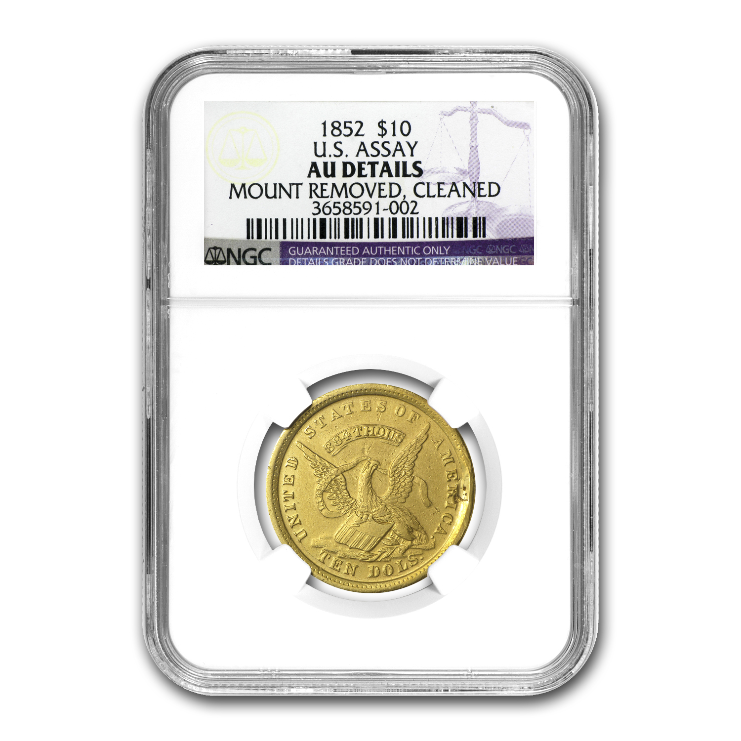 1852 $10 Gold U.S. Assay AU Details NGC (Mount Removed)