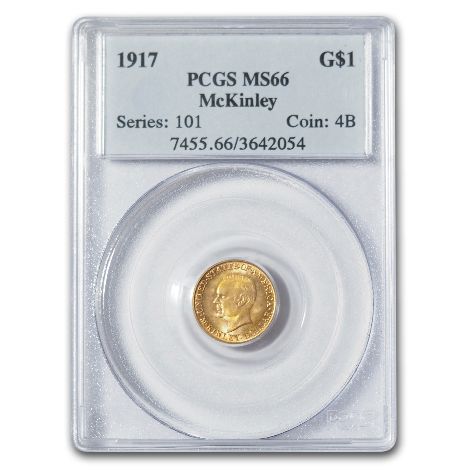 1917 $1.00 Gold McKinley MS-66 PCGS