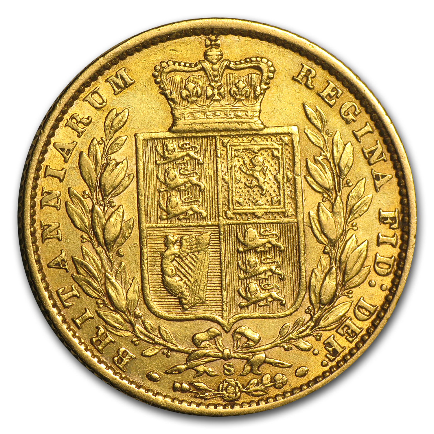 1871-1887-S Australia Gold Sovereign Victoria Shield Avg Circ