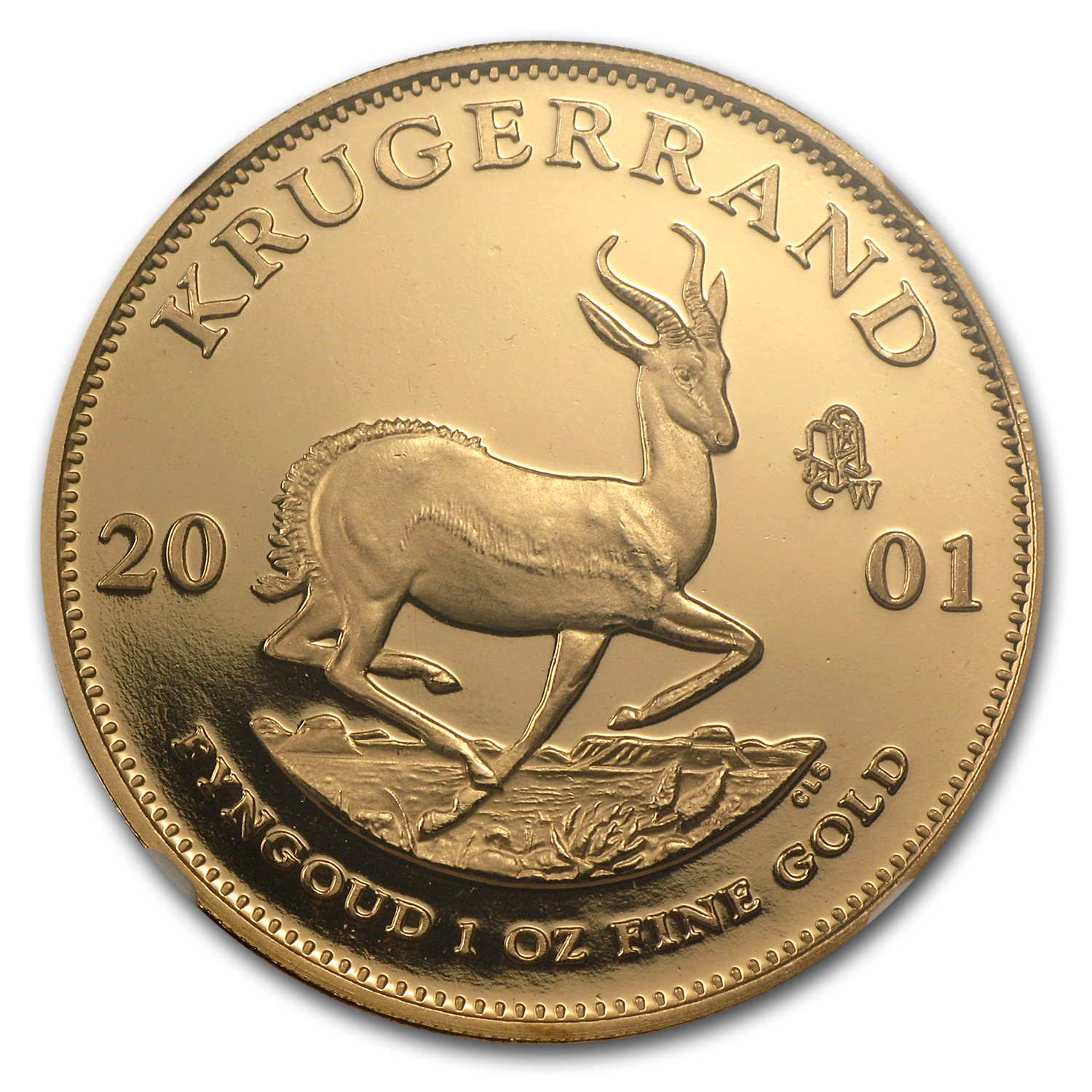 2001 South Africa 1 oz Gold Krugerrand PF-67 NGC (CW Privy)