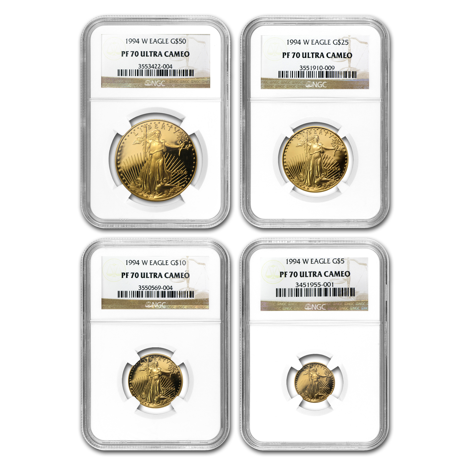 1994-W 4-Coin Proof Gold American Eagle PF-70 NGC Registry Set