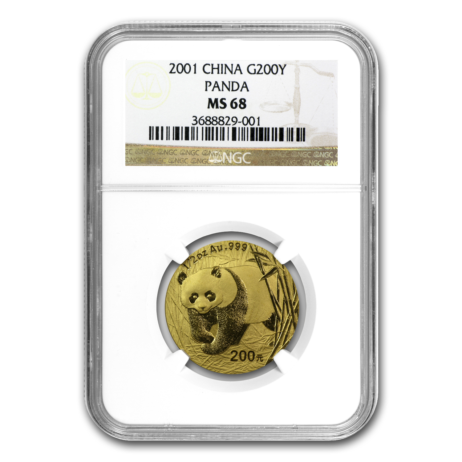 2001 1/2 oz Gold Chinese Panda MS-68 NGC