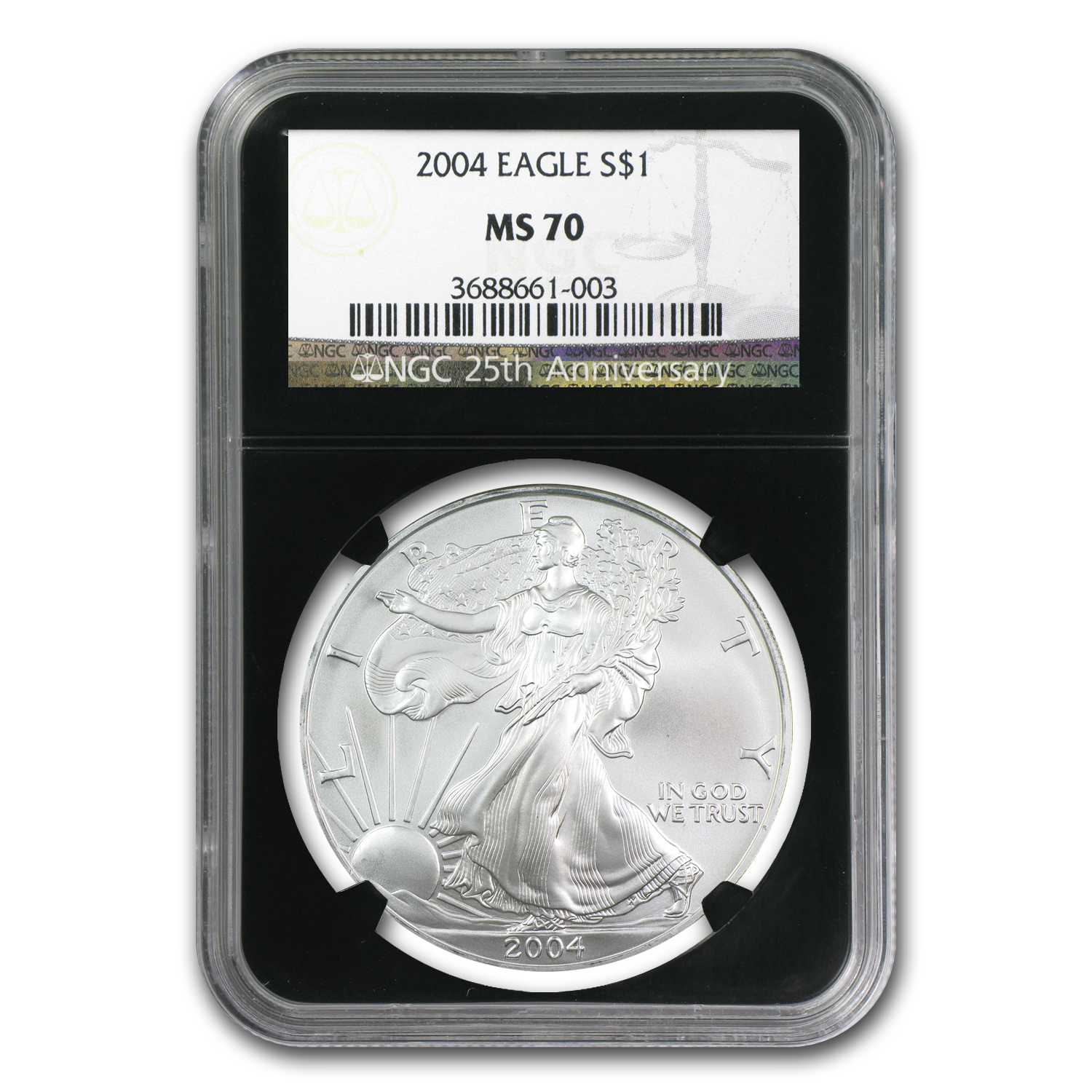 2004 Silver American Eagle MS-70 NGC (Retro Black Insert)