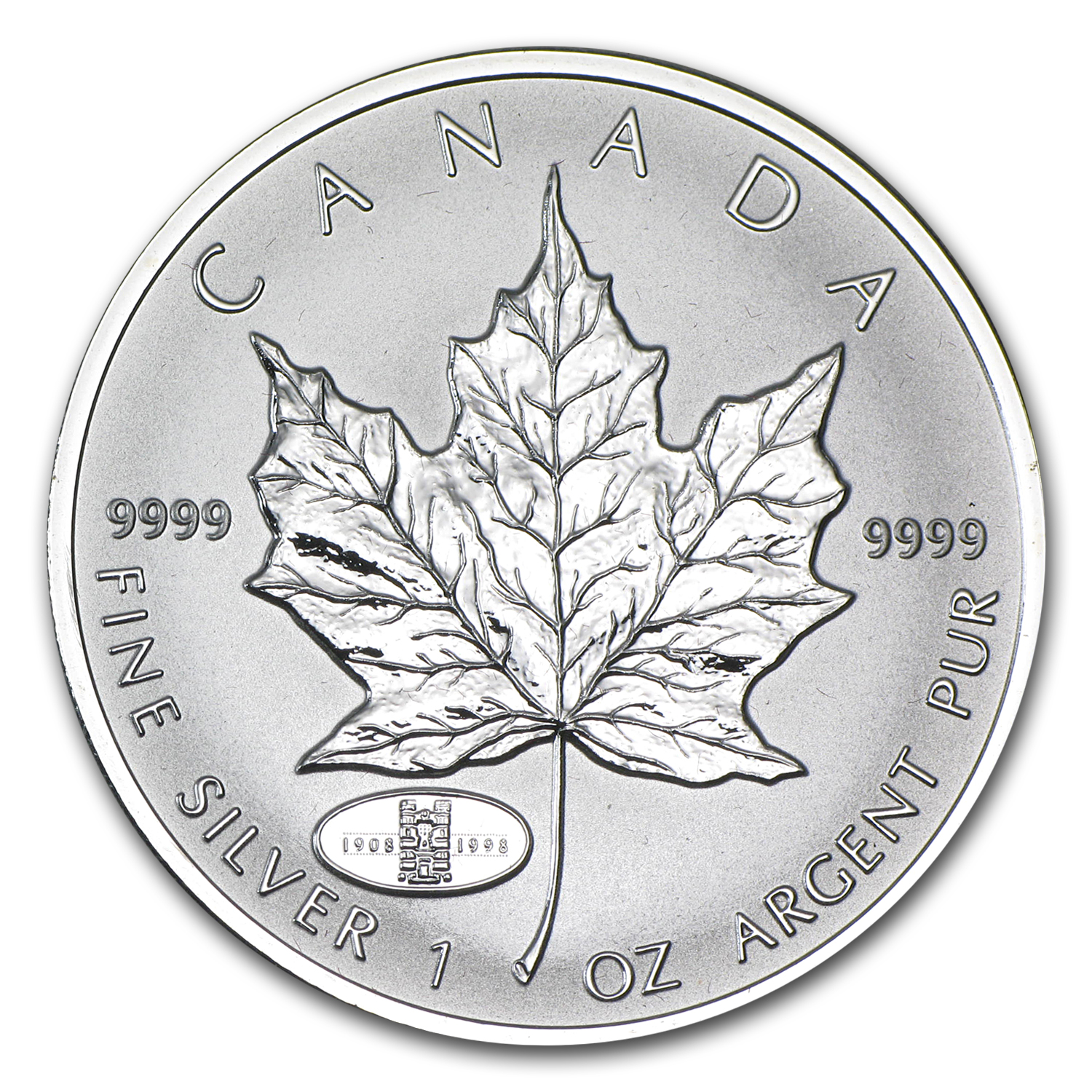 1998 1 oz Silver Canadian Maple Leaf - RCM 90th Anniversary Privy
