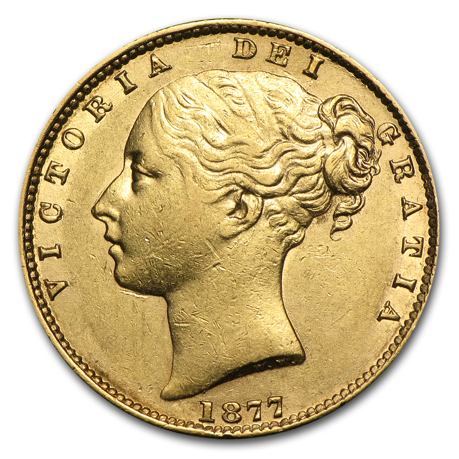 1877-S Australia Gold Sovereign Victoria AU