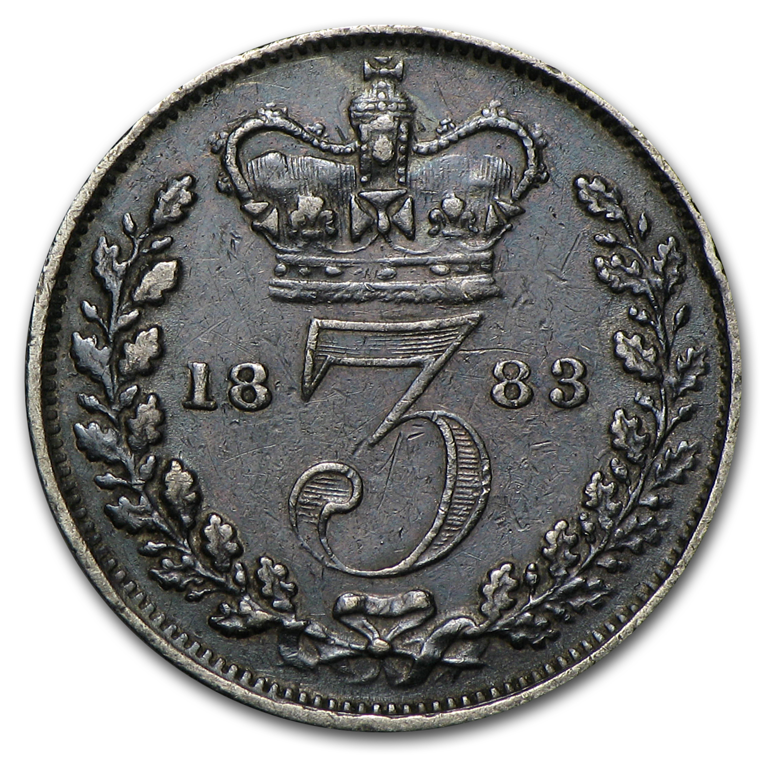 1883 Great Britain Silver 3 Pence Victoria VF