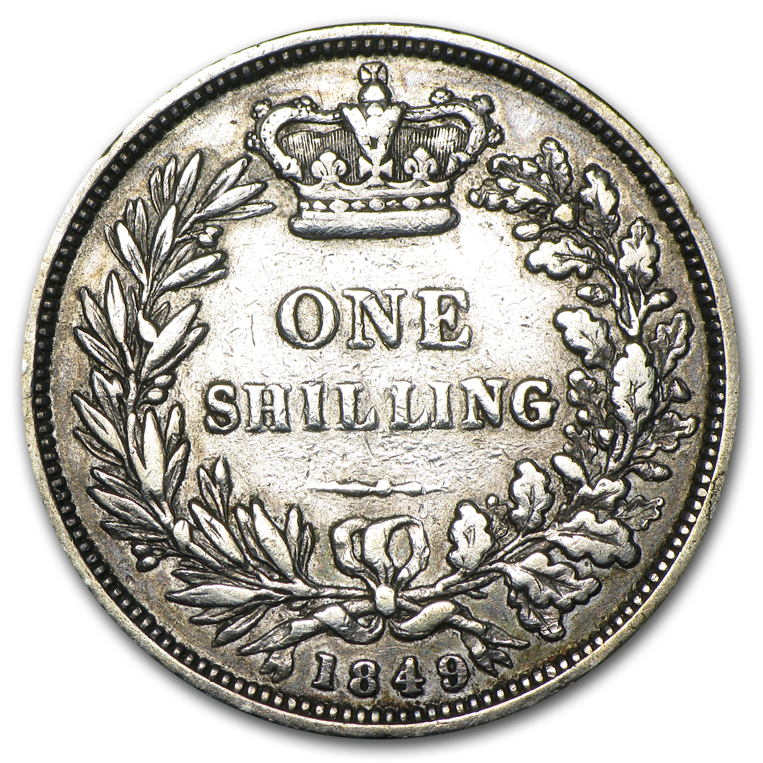 1849 Great Britain Silver Shilling VF Details