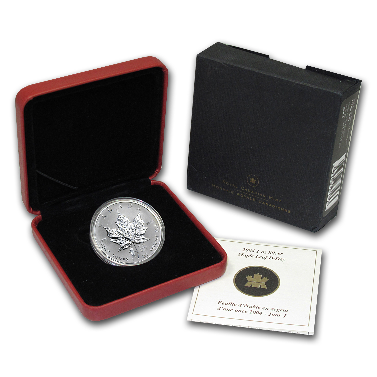 2004 1 oz Silver Canadian Maple Leaf - D-Day Privy (W/Box & COA)