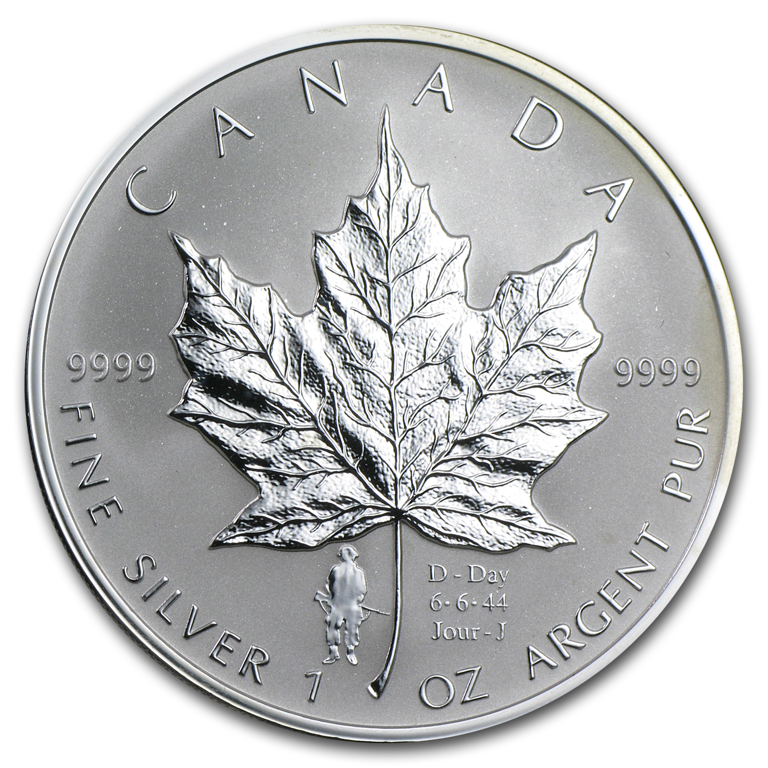2004 Canada 1 oz Silver Maple Leaf D-Day Privy (w/Box & COA)
