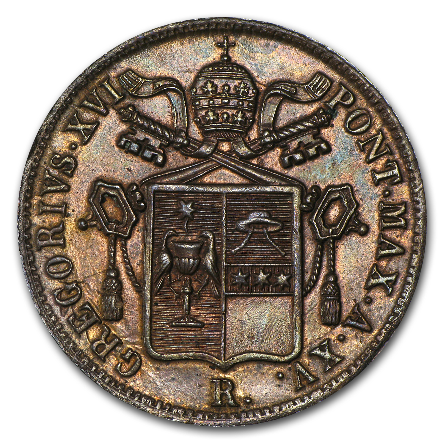 1845 Papal States Copper 1 Baiocco Pope Gregory XVI AU