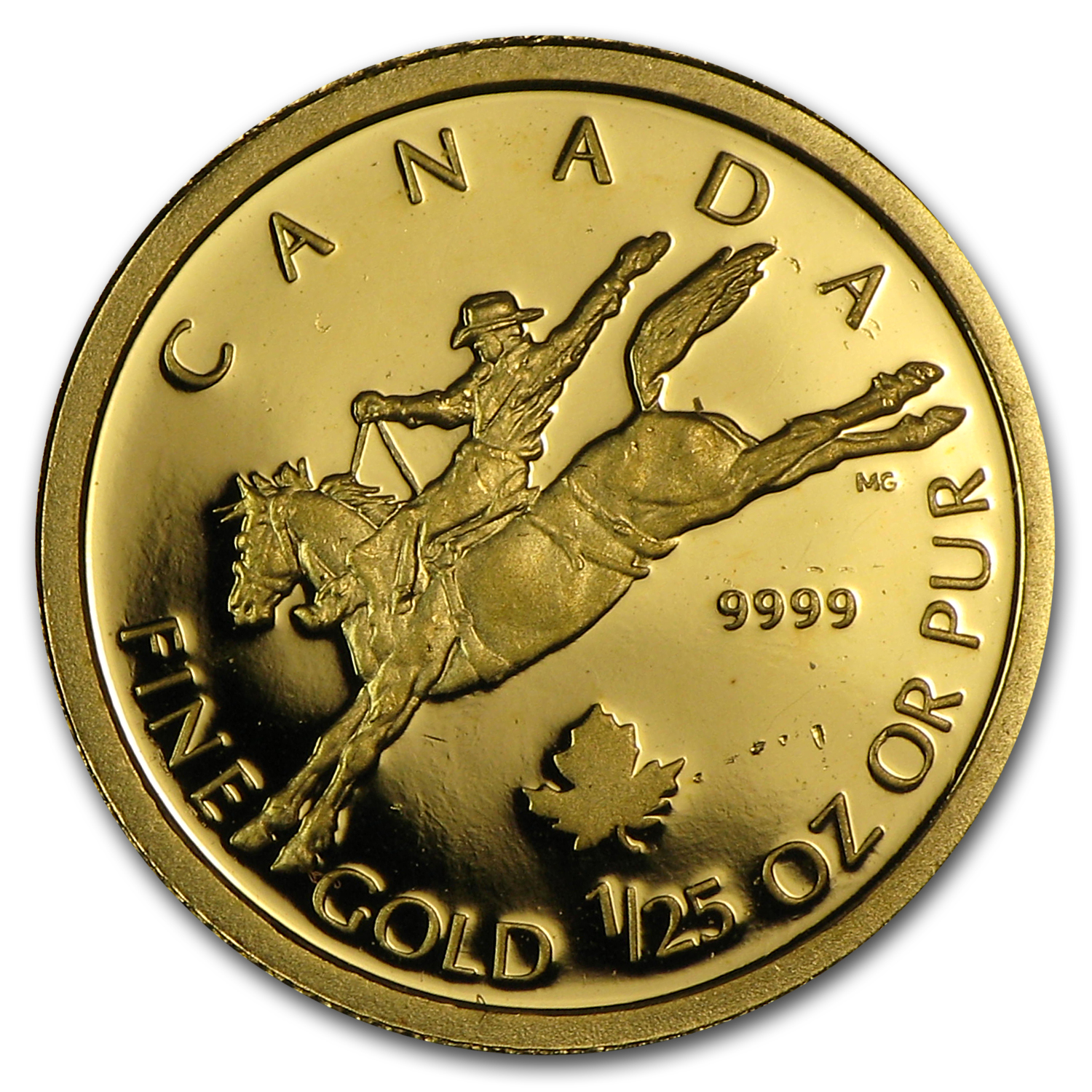 2006 1/25 oz Gold Canadian $0.50 Proof - Calgary Stampede