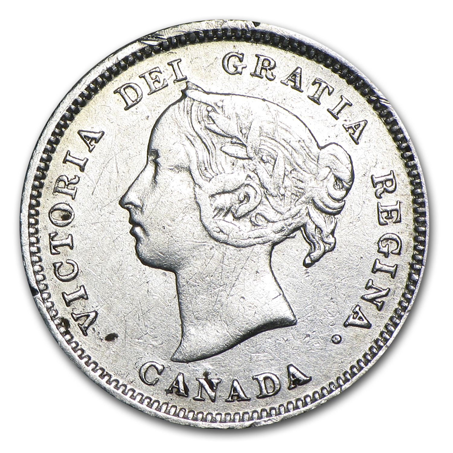 1887 Canada 5 Cents Silver Victoria VF Details