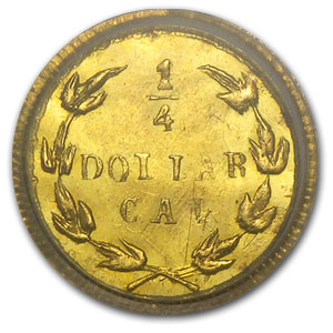 1875 BG-846 Liberty Round 25 Cent Gold MS-63 PCGS