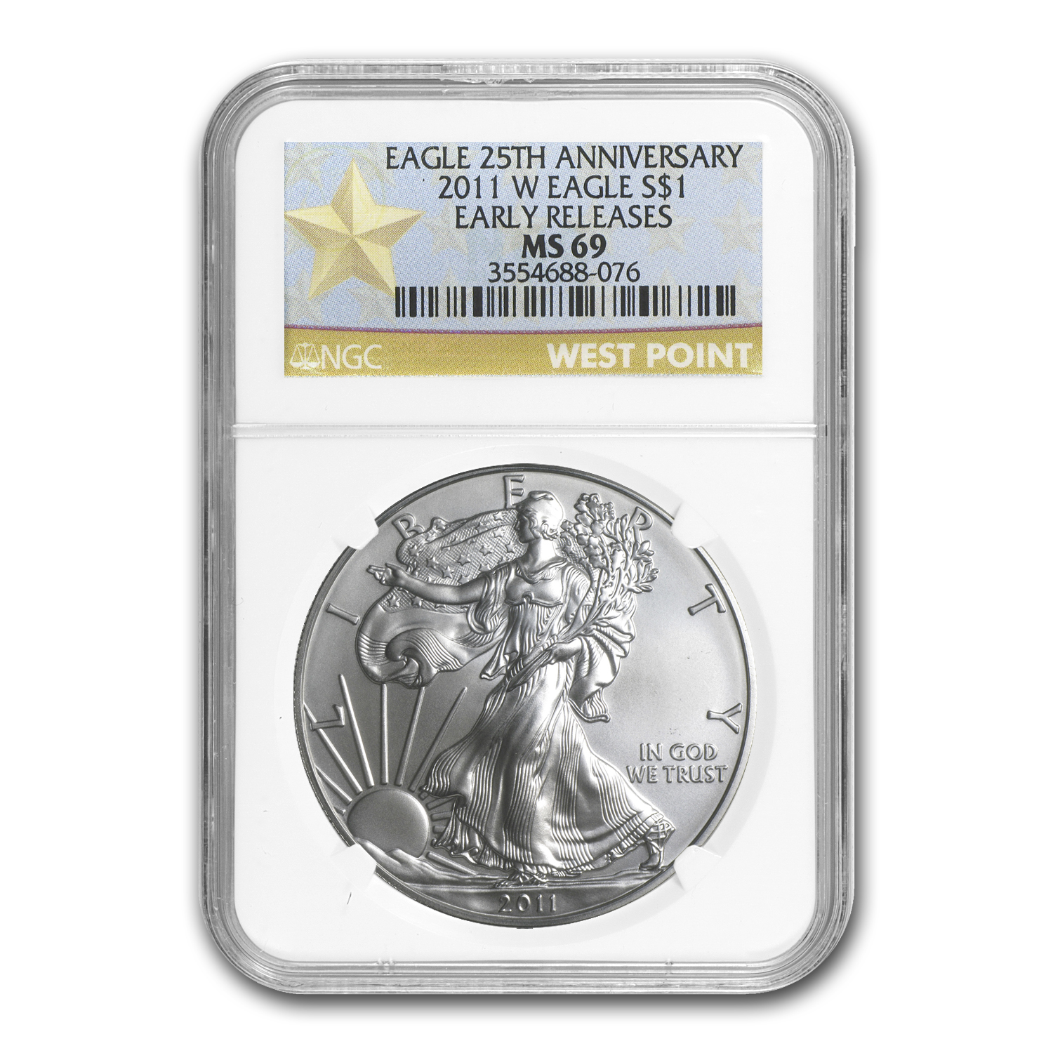 2011 (W) Silver Eagle MS-69 NGC (ER, West Point Star Label)