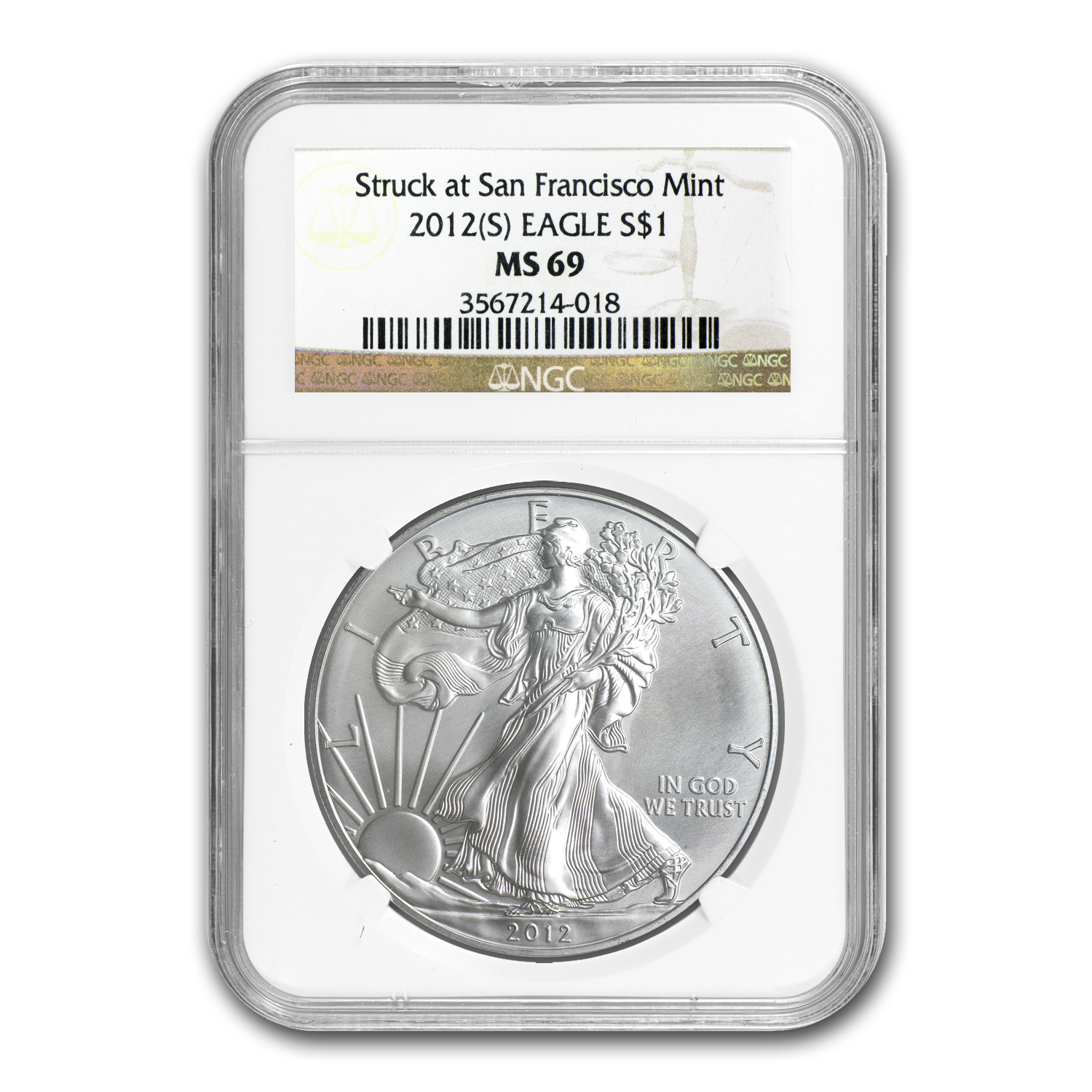 2012 (S) Silver American Eagle MS-69 NGC