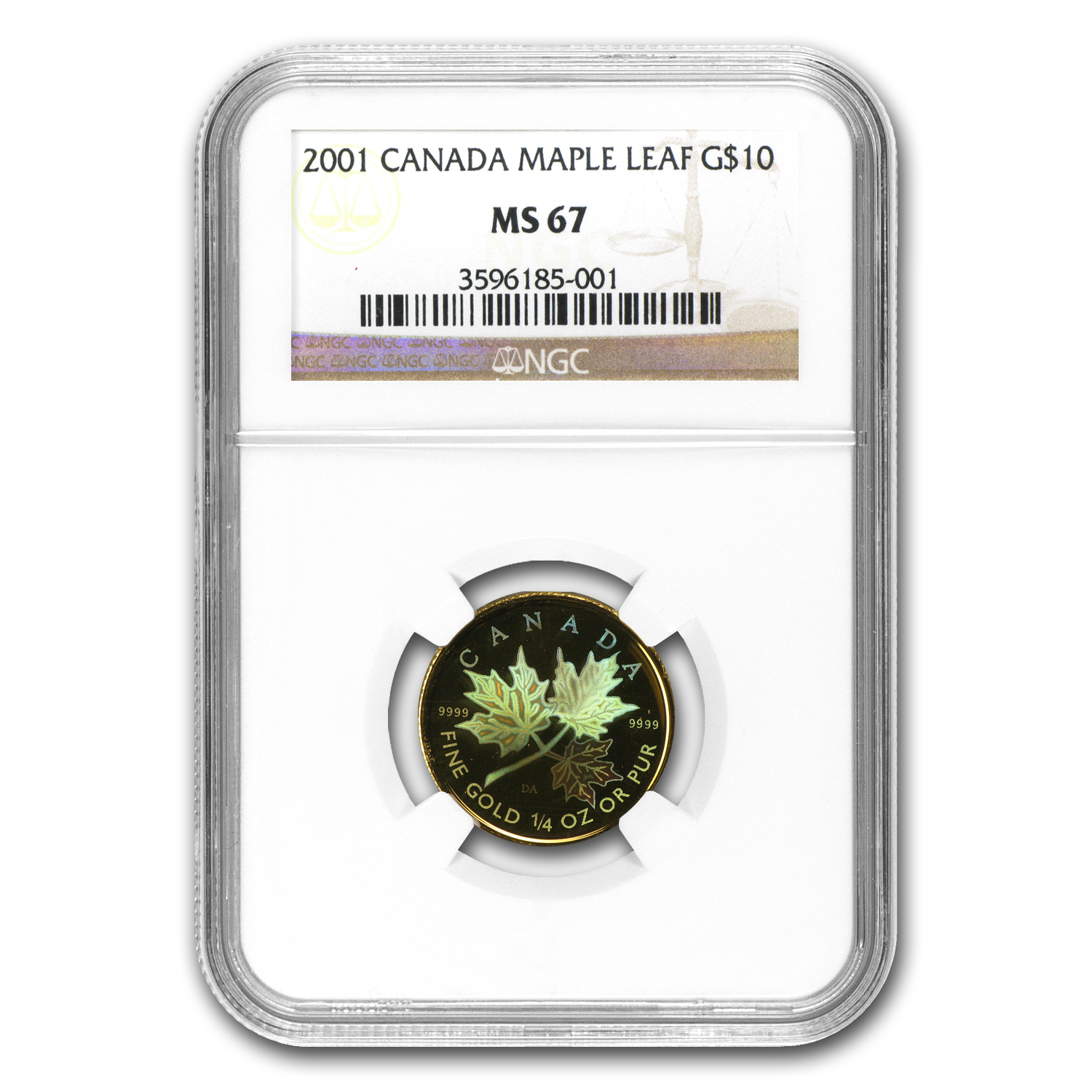 2001 1/4 oz Hologram Gold Canadian Maple Leaf MS-67 NGC