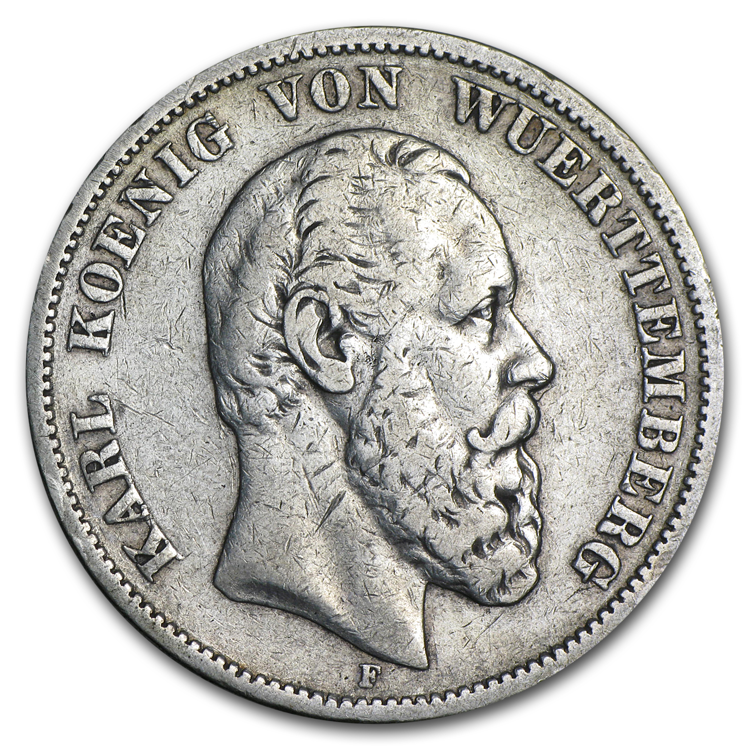 1876 Wurttemberg Silver 5 Mark VF Details
