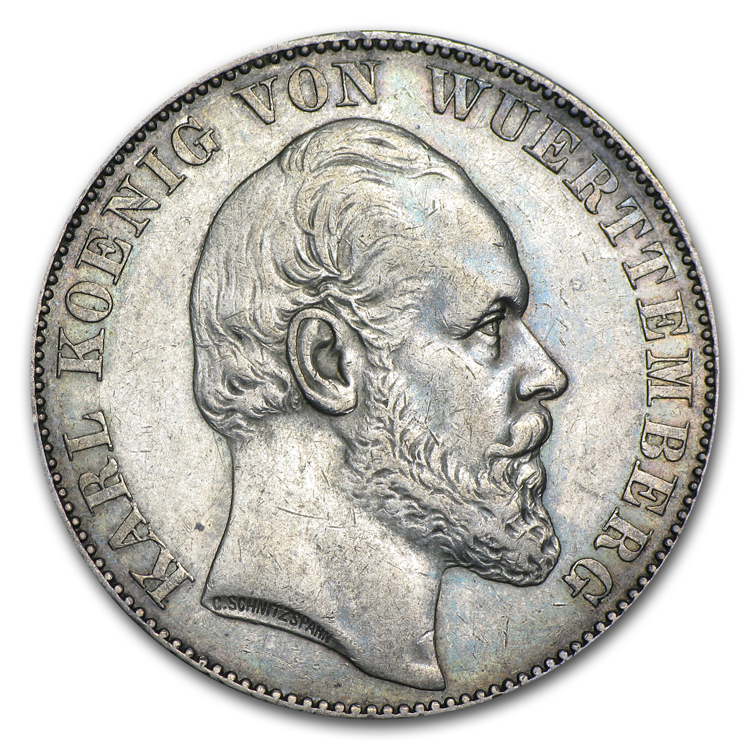 1871 Wurttemberg Silver Thaler XF