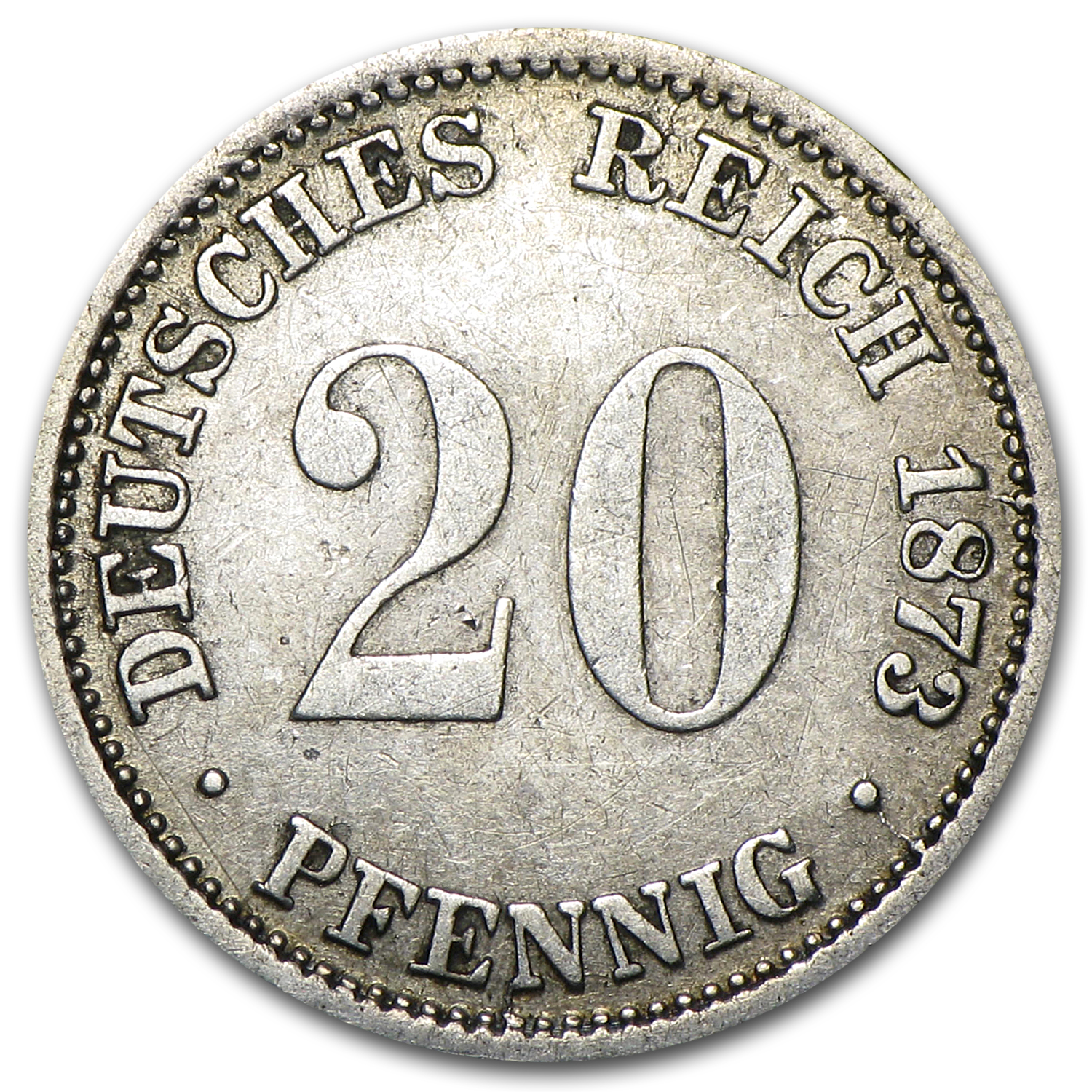 1873-A Germany Silver 20 Pfennig VF