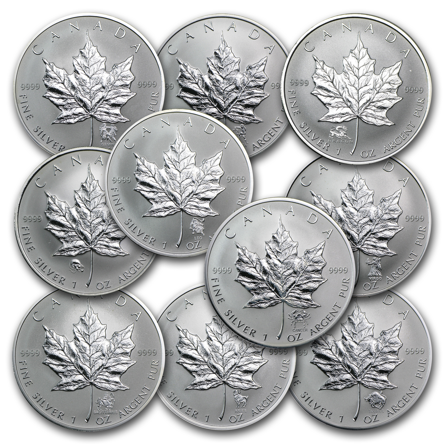 10 Different Canada 1 oz Silver Maple Leaf Privy Mark Coins