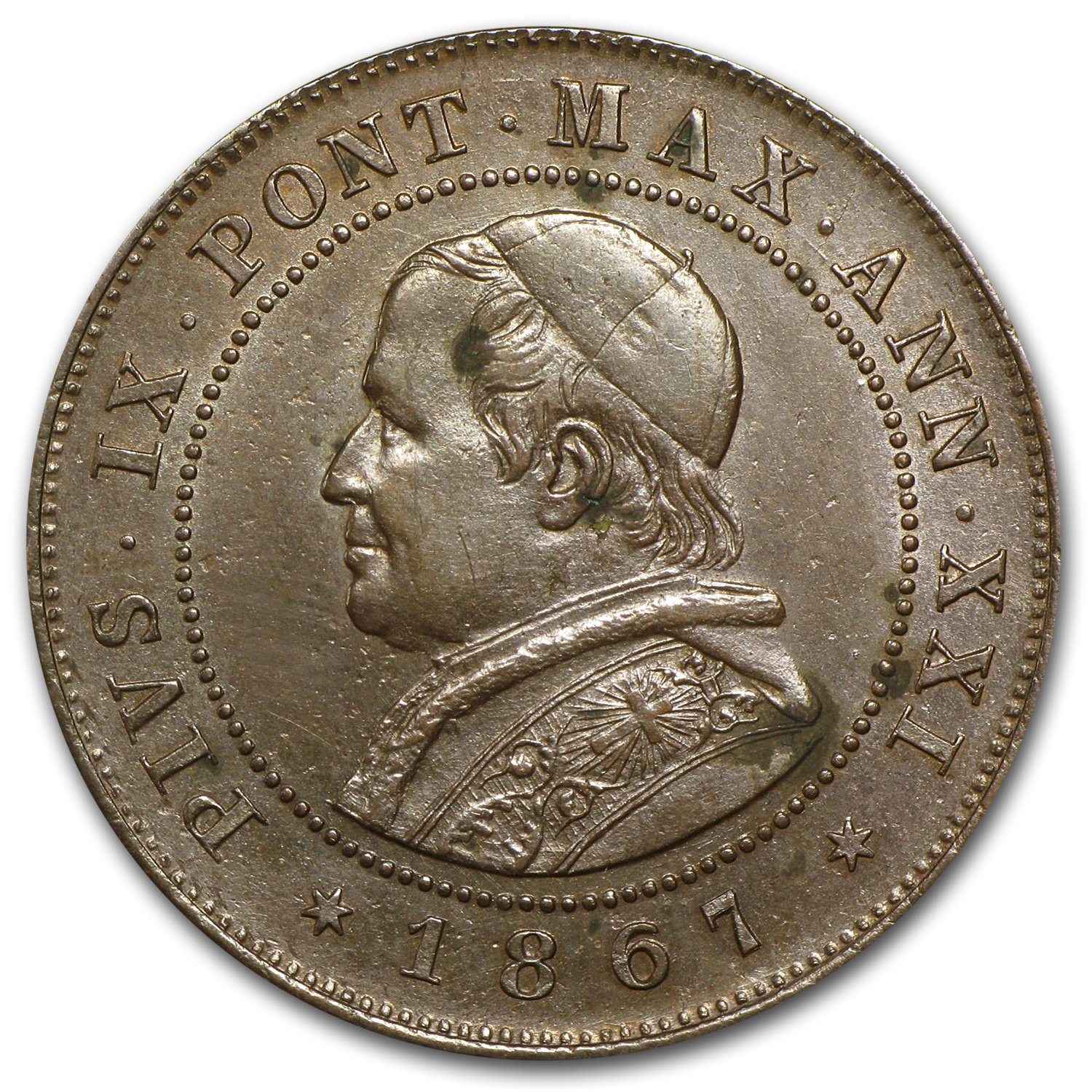 Papal States 1867 2 Soldi Copper AU