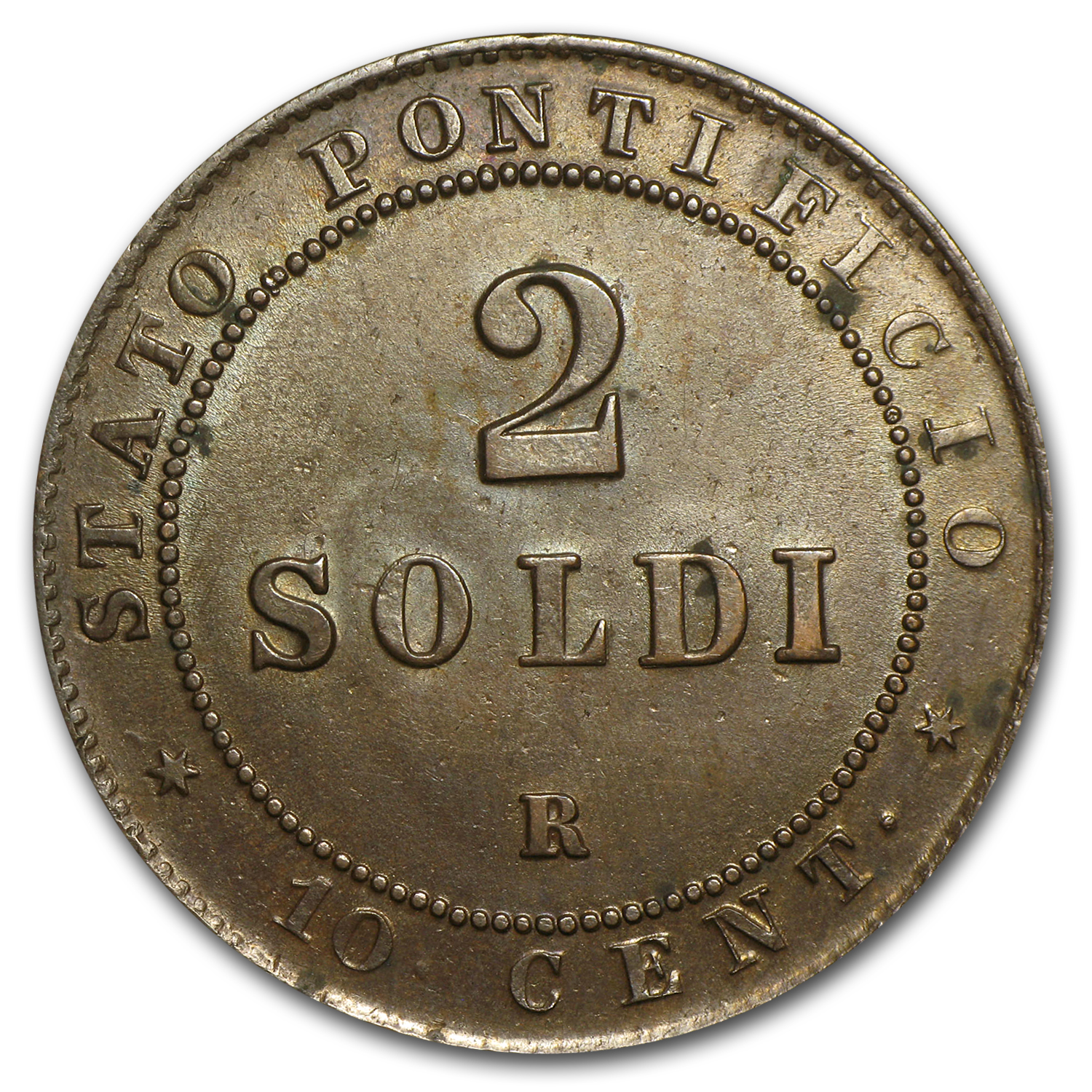 1867 Papal States Copper 2 Soldi AU