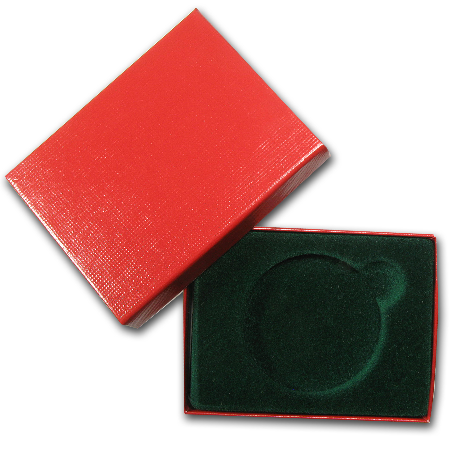 2 in. x 3 in. Red w/Green Felt Lined Gift Box for Silver Round
