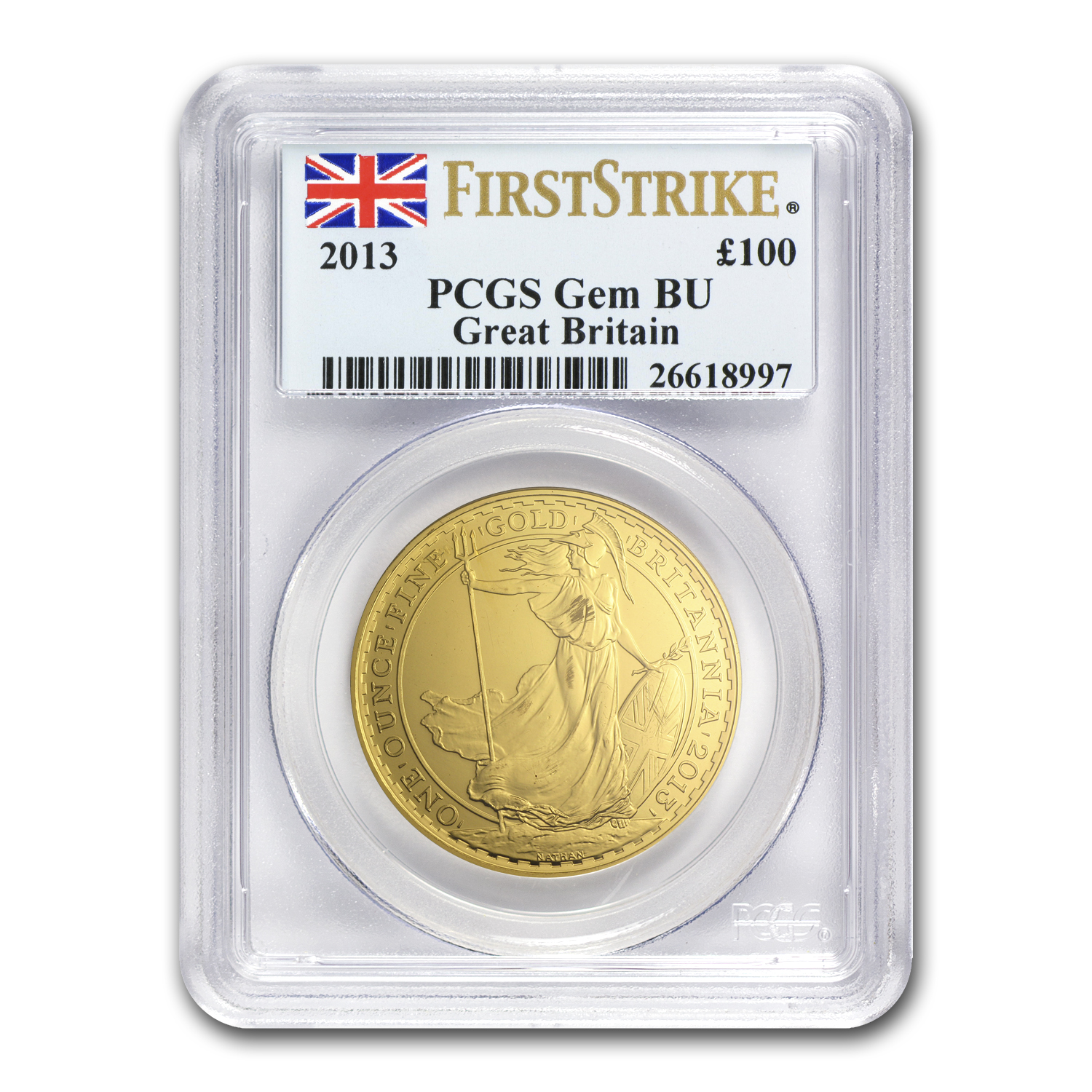 2013 1 oz Gold Britannia PCGS Gem BU First Strike
