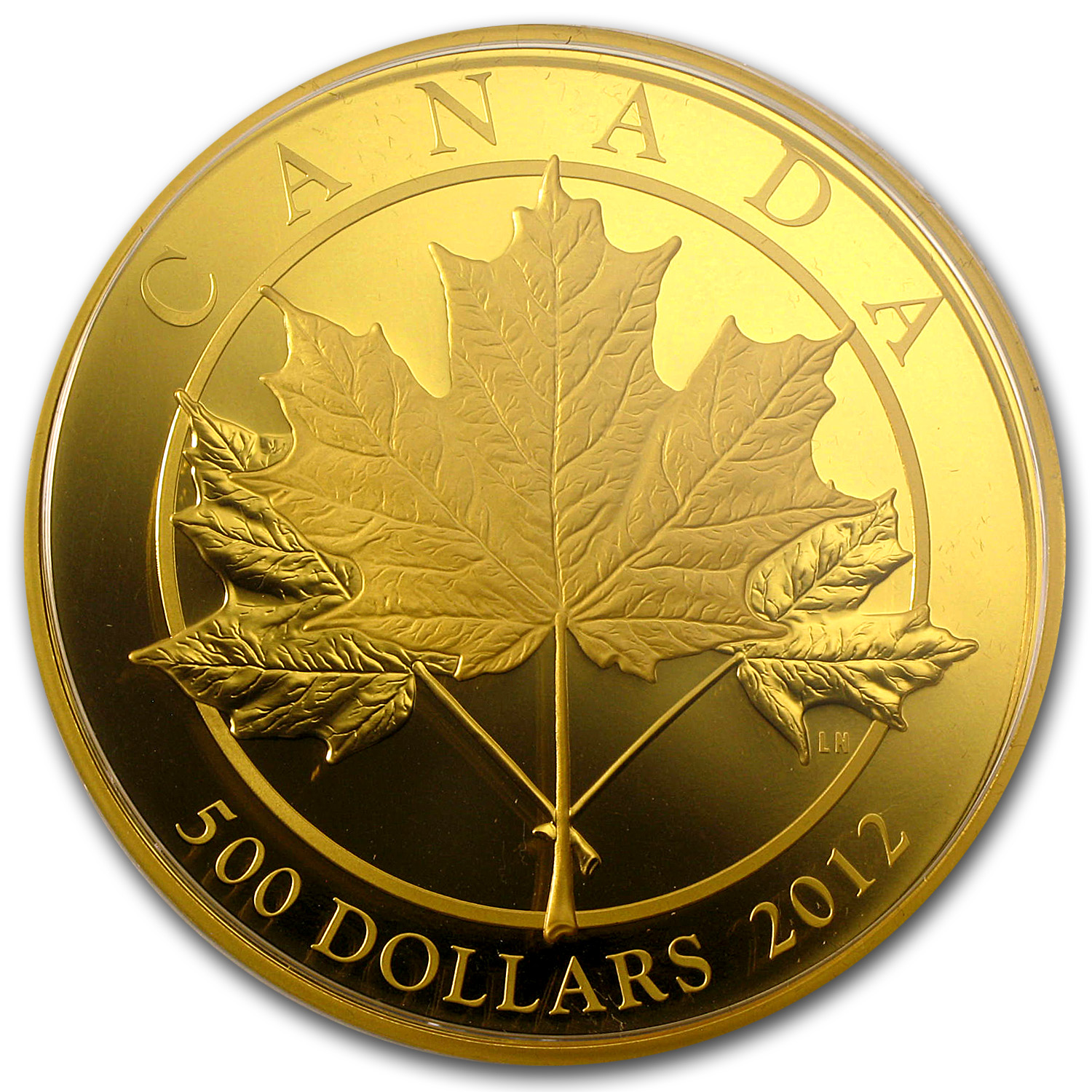 2012 Canada 5 oz Proof Gold $500 Maple Leaf Forever
