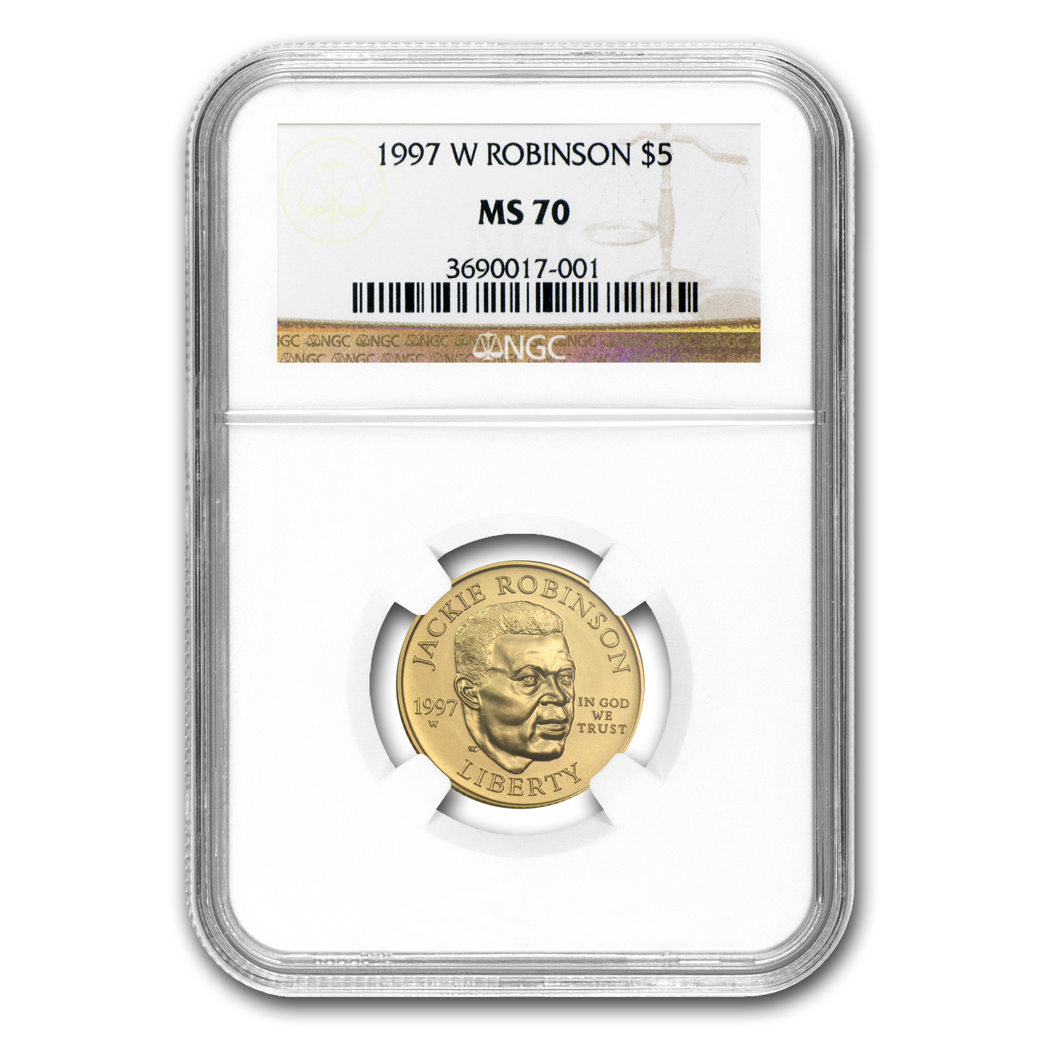 1997-W Gold $5 Commem Jackie Robinson MS-70 NGC