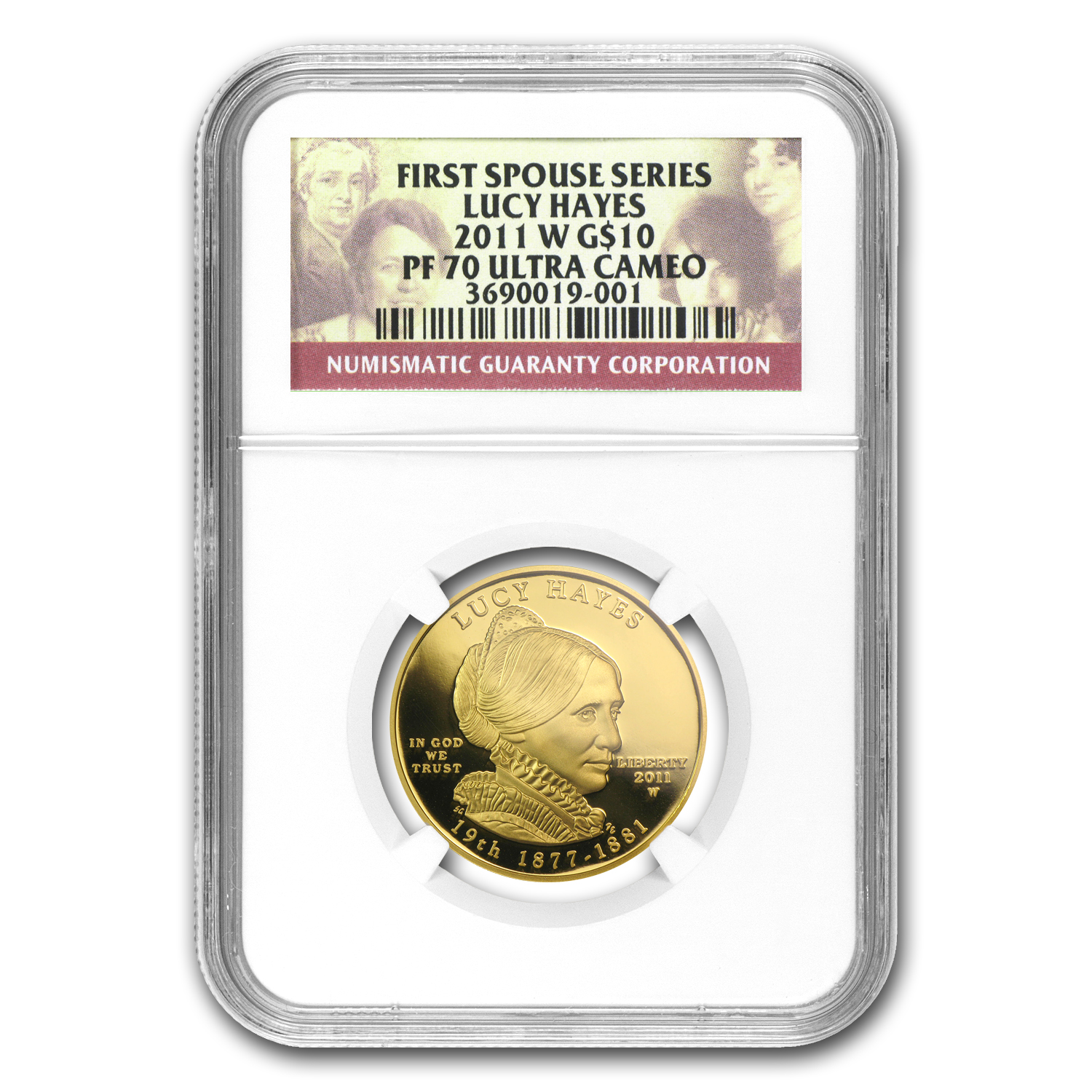 2011-W 1/2 oz Proof Gold Lucy Hayes PF-70 NGC