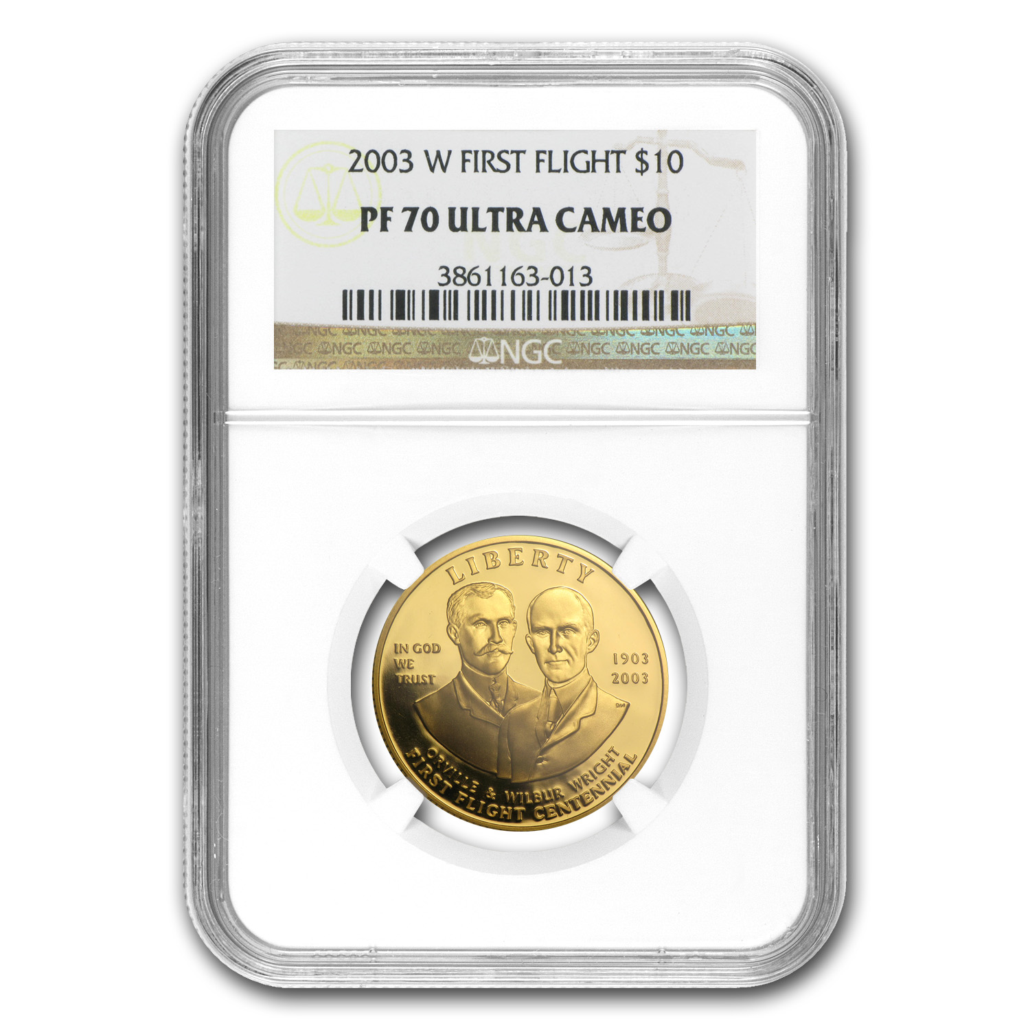 2003-W Gold $10 Commem First Flight Centennial PF-70 NGC